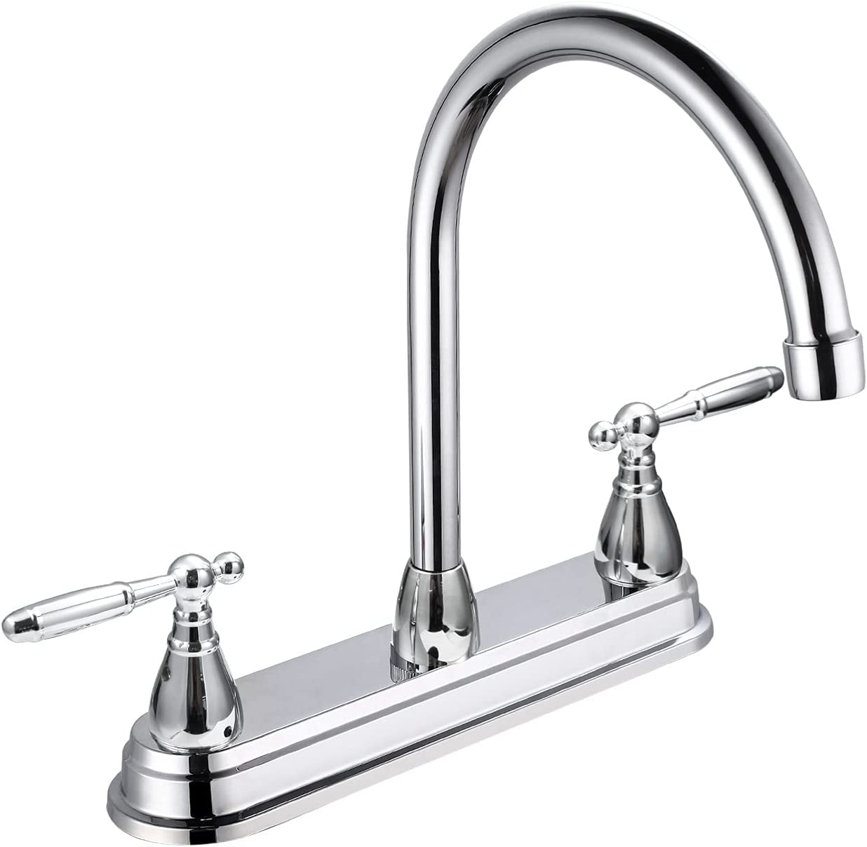 SOLVEX 2 Handle Kitchen Sink Faucet, High Arc 360 Swivel Stainless Steel Pipe 3 Hole Kitchen Faucet, Commercial Modern Chrome Kitchen Sink Faucet, US-SP-80077