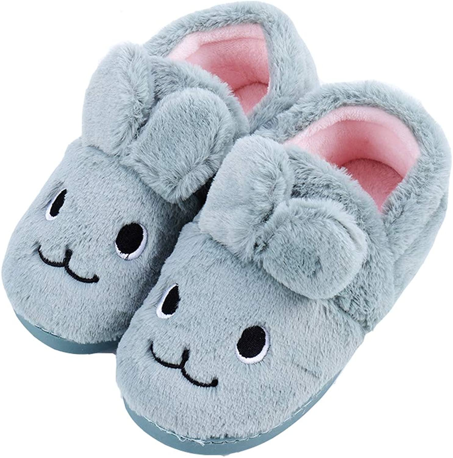 T-JULY Womens Ladies Fuzzy Pink Bunny Rabbit Ears Soft Fluffy Home Slippers Fur Plush Warm Winter Indoor Slippers