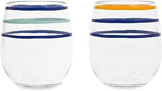 Kate Spade New York Acrylic 14 Ounce Stemless Wine Glass Set of 2, Citrus Twist Stripe