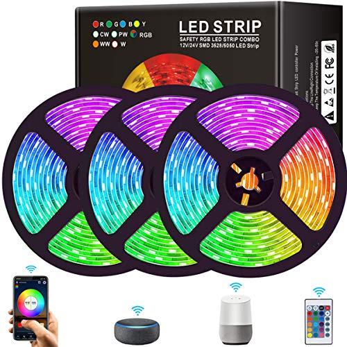 15M WiFi Tiras LED Smart RGB 5050, Tiras de Luces LED Iluminación con 450 LEDs, Sincroniza con Música, Control de APP y de Control Remoto, Funciona con Alexa y Google Home, Horario Personal