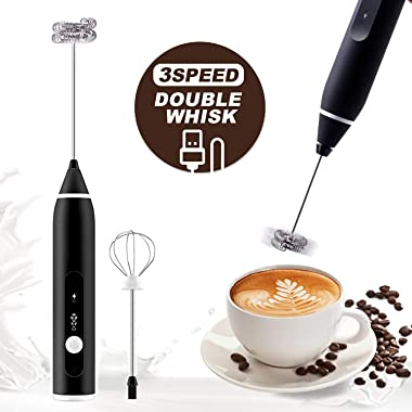 Milk Frother Handheld Rechargeable Milk Foamer USB Electric Whisk Mixer Kitchen New Button Sequence 3 Adjustable Speed Blender for Coffee Matcha Latte Cappuccino Hot Chocolate