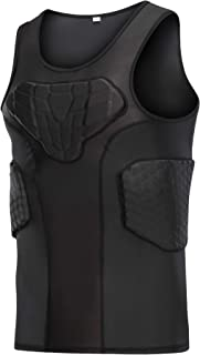 DGXINJUN Men`s Padded Compression Shirt Training Vest (4-Pad) Sleeveless T-Shirt Ribs, Back Protector Tank- Football Socce...