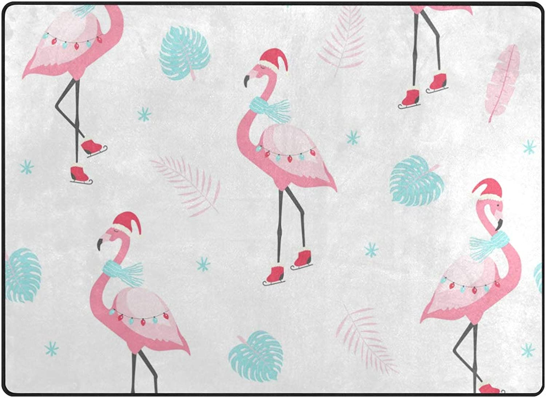 Vantaso Soft Foam Nursery Rugs Christmas Flamingo with Xmas Hat Non Slip Play Mats for Kids Boys Girls Playing Room Living Room 63x48 inch