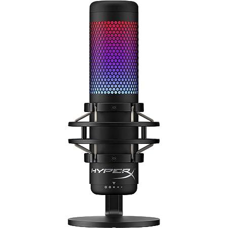HyperX HMIQ1S-XX-RG/G QuadCast S – RGB Micrófono de Condensador USB para PC, PS4 y Mac, Montura antigolpes y Vibraciones, Filtro Pop, Juegos, Streaming, podcasts, Twitch, Youtube, Discord