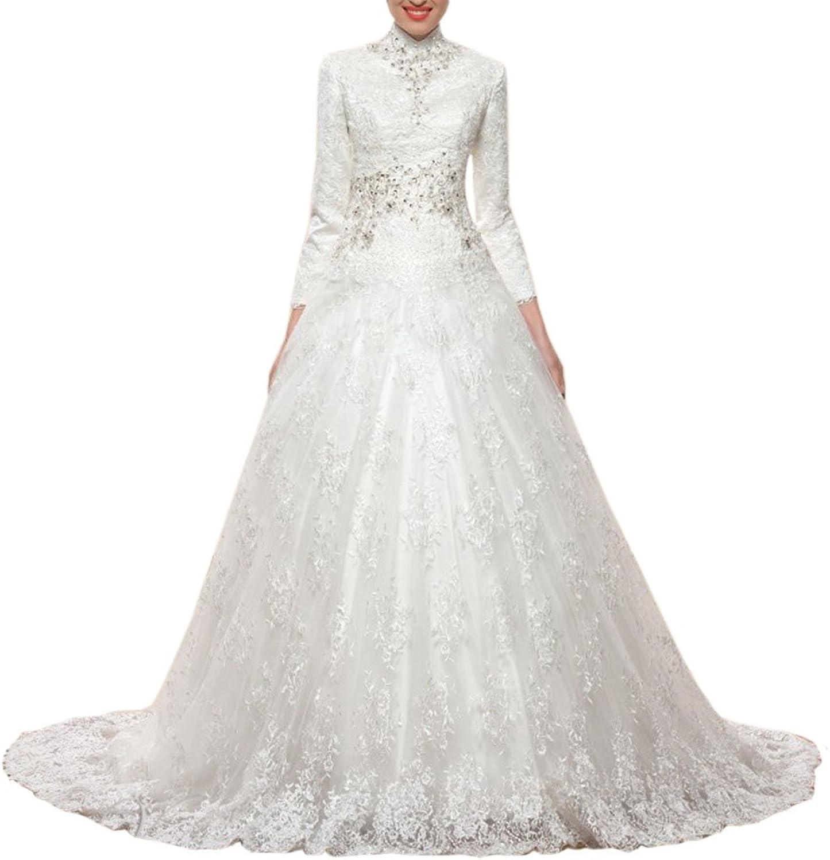 Engerla Women's Illusion Back Beaded Lace Court Train Mermaid Wedding Dress