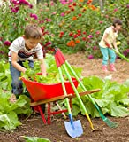 Kid's Garden Wheelbarrow - Yard Tools for Children - Red with Wood Handles, Steel Braces, Solid Tire - 33 L x 17 W x 15.75 H