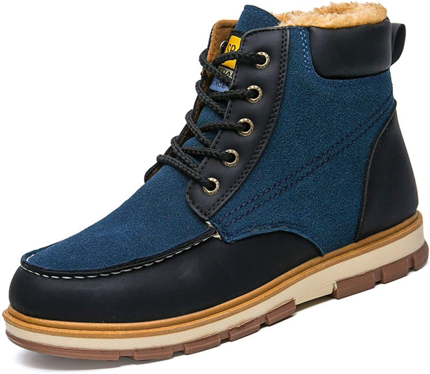 shoes Autumn and Winter Martin Boots, Men's Leather Boots, Men's Trend Suede High to Help Classic Tooling Cotton, Short Tube Waterproof Non-Slip High to Help Outdoor Cotton Boots