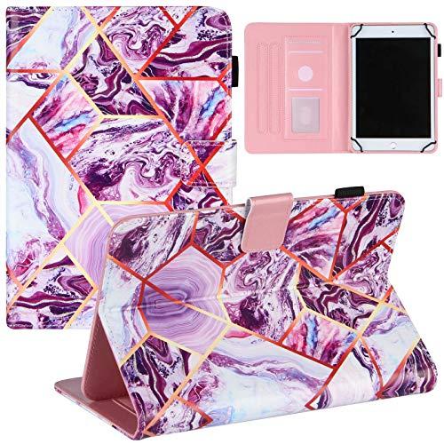 Miagon Universal Hülle für Alle {7 Zoll}(Samsung Android Ipad Amazon kindle etc) Tablet Marmor Hülle,Schutzhülle mit Magnetisch PU Leder Flip Stand Cover,Lila