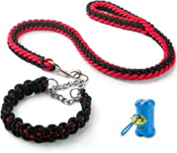 HIPIPET Highly Reflective Dog Leash and Collar Set Braided Explosion-Proof Rope Chain for Large Dogs