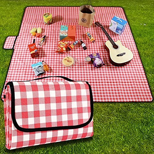 GUSUWU Manta de picnic plegable, impermeable, lavable, ligera con asa (200 cm x 200 cm), color rojo a cuadros para senderismo, viajes, camping, playas, parques