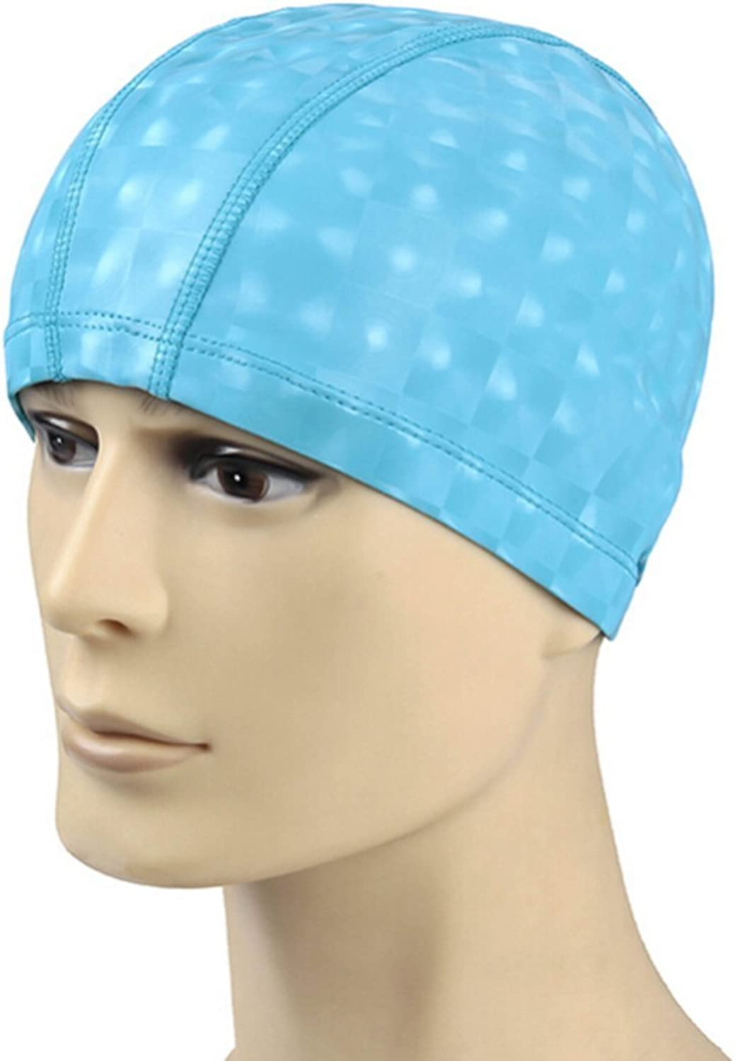 (Light blueee) - Eforstore Unisex Adult Solid Lycra Fabric Swim Cap PU Coating Cover Waterproof and Breathable Swimming Cap