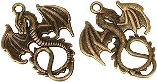 5 x Dragon Charms 30x22mm Antique Bronze Tone for Bracelets Necklace Earrings #MCZ199