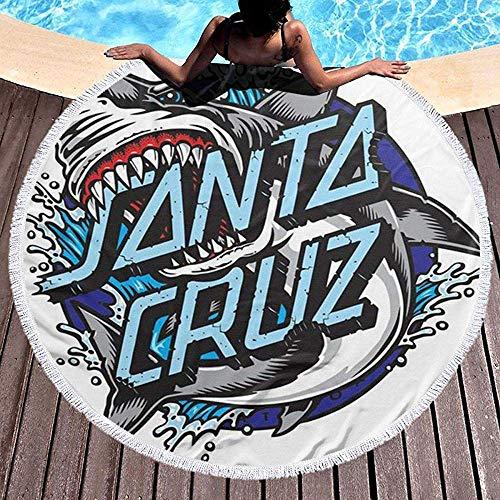 Duanrest Shark Santa Cruz Ramadan Festival Alfombra Redonda, Toalla de Playa Redonda Estera de Yoga Estera de Playa Estera de Mesa Alfombra de casa Mantón Junto al mar