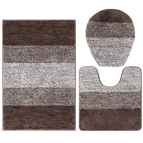 Aonewoe Juego de 3 alfombrillas de baño antideslizantes de microfibra suave y absorbente, alfombrilla de ducha en forma de U y funda de asiento de inodoro para baño (camel)