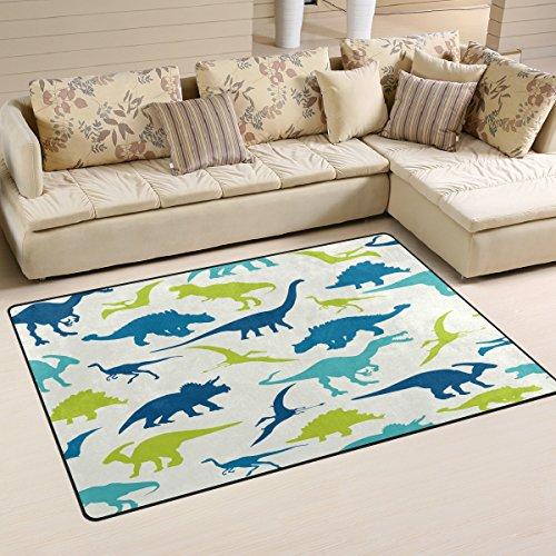 Use7 Tapis de sol antidérapant - Motif dinosaure coloré - Pour chambre à coucher d'enfants, Tissu, multicolore, 100 x 150 cm(3