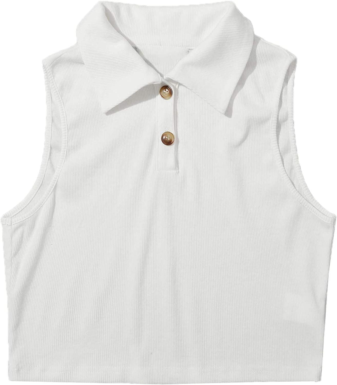 Verdusa Women's Casual Button Front Sleeveless Rib Knit Crop Tank Top