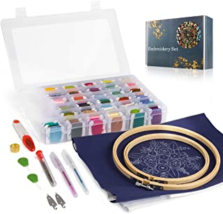 PITAYA Embroidery Tool Set Hand-Embroidered Set 100pcs Embroidery Thread String Kits with Organizer Storage Box Included 30 Embroidery Needles 2 Different Sizes of Bamboo Rings 2 pcs Embroidery Fabric