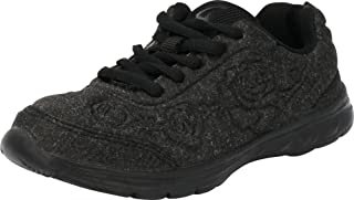 Cambridge Select Kids' Lace-Up Floral Running Casual Sport Fashion Sneaker (Toddler/Little Kid/Big Kid),3 M US Little Kid,All Black