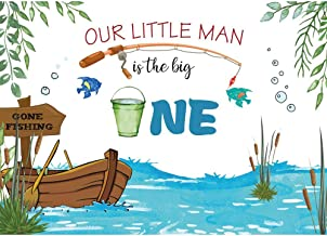 Allenjoy Gone Fishing 1st Birthday Backdrop Our Little Man is The Big One Kids Boys Bday Party Cake Table Decoration Banner Fishing Pond Theme 7X5ft Vinyl Photoshoot Background Photo Booth Props
