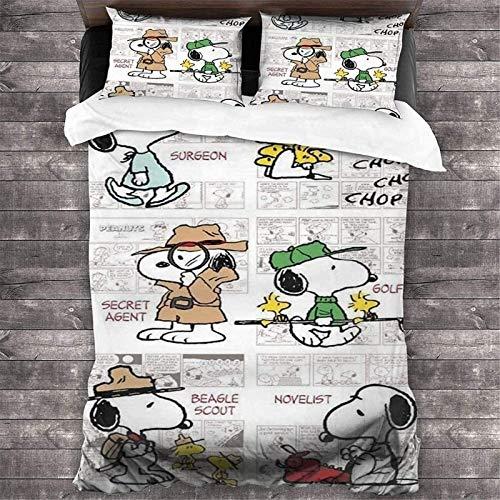 SMNVCKJ Snoopy Juego de cama y funda de almohada con impresión digital 3D para niños, 100% microfibra, con cremallera, algodón utilizado en el dormitorio (135 × 200,27)