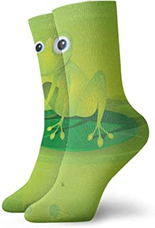 tyui7, Calcetines de compresión antideslizantes de rana verde de dibujos animados lindos Calcetines deportivos de 30 cm acogedores para hombres, mujeres, niños