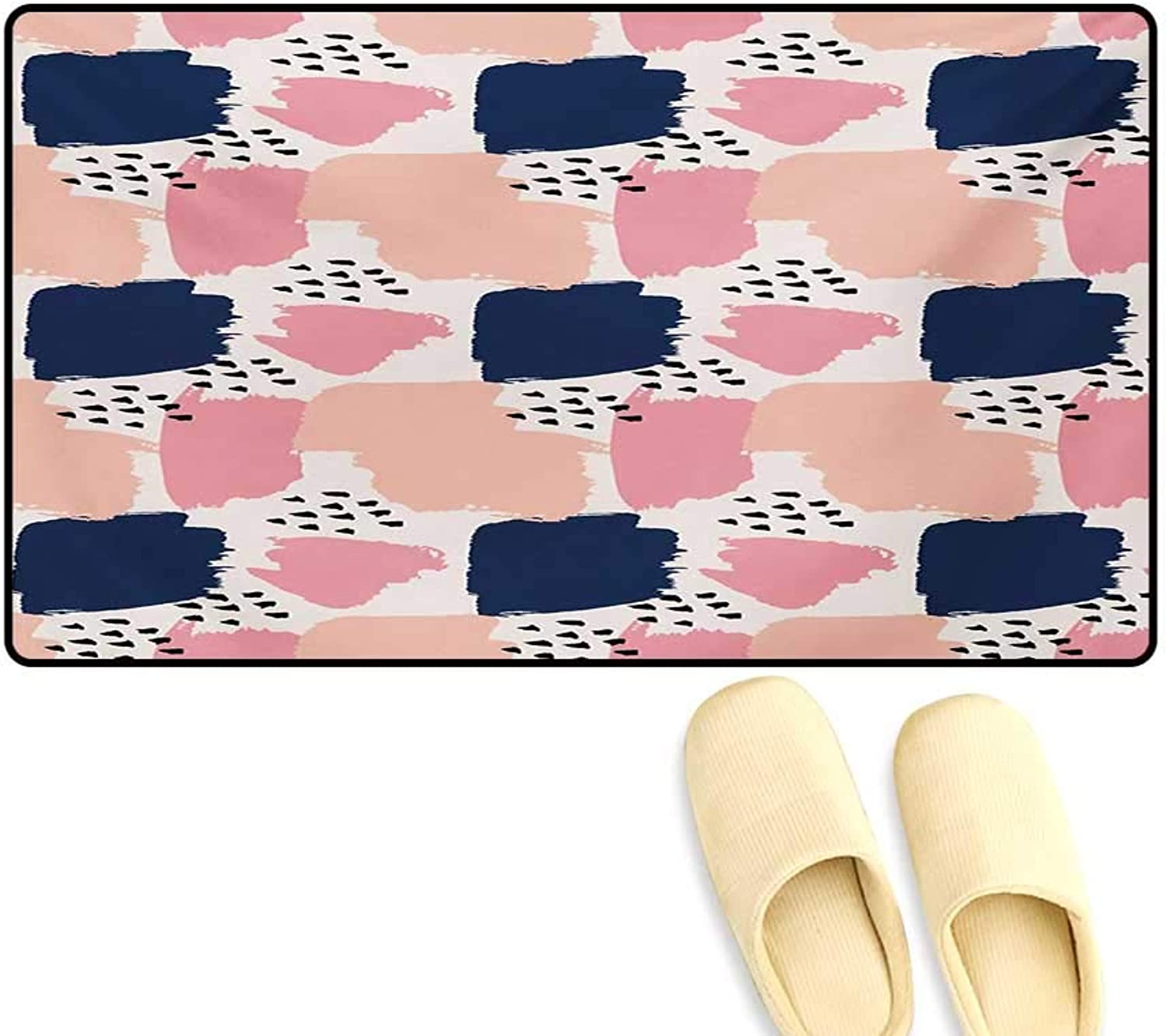 Door-mat,Hand Painted Style Brushstrokes in Pastel colors Abstract Artistic Pattern,Door Mats for Inside Bathroom Mat Non Slip,Multicolor,24 x36
