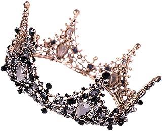Thepass Queen Crown, Wedding Crowns for Women,Luxury Elegant Crown Full Diamond Black Zircon Flower Headwear Headband