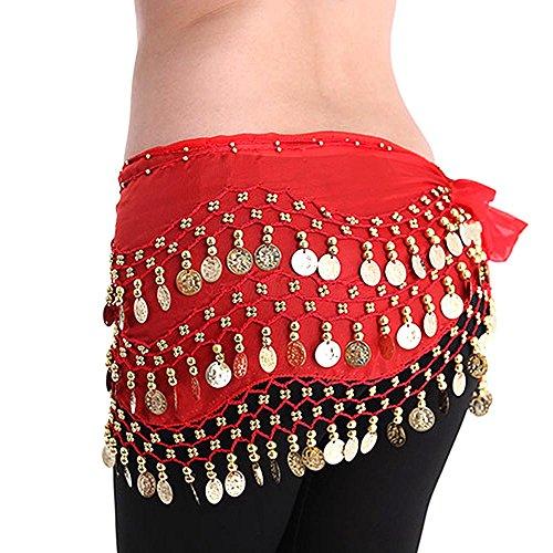 LQZ(TM) Cintura per Danza Orientale, Danza del ventre, in seta, adatta anche come sciarpa o foulard da donna e ragazza rosso Taglia unica, 150*30 cm
