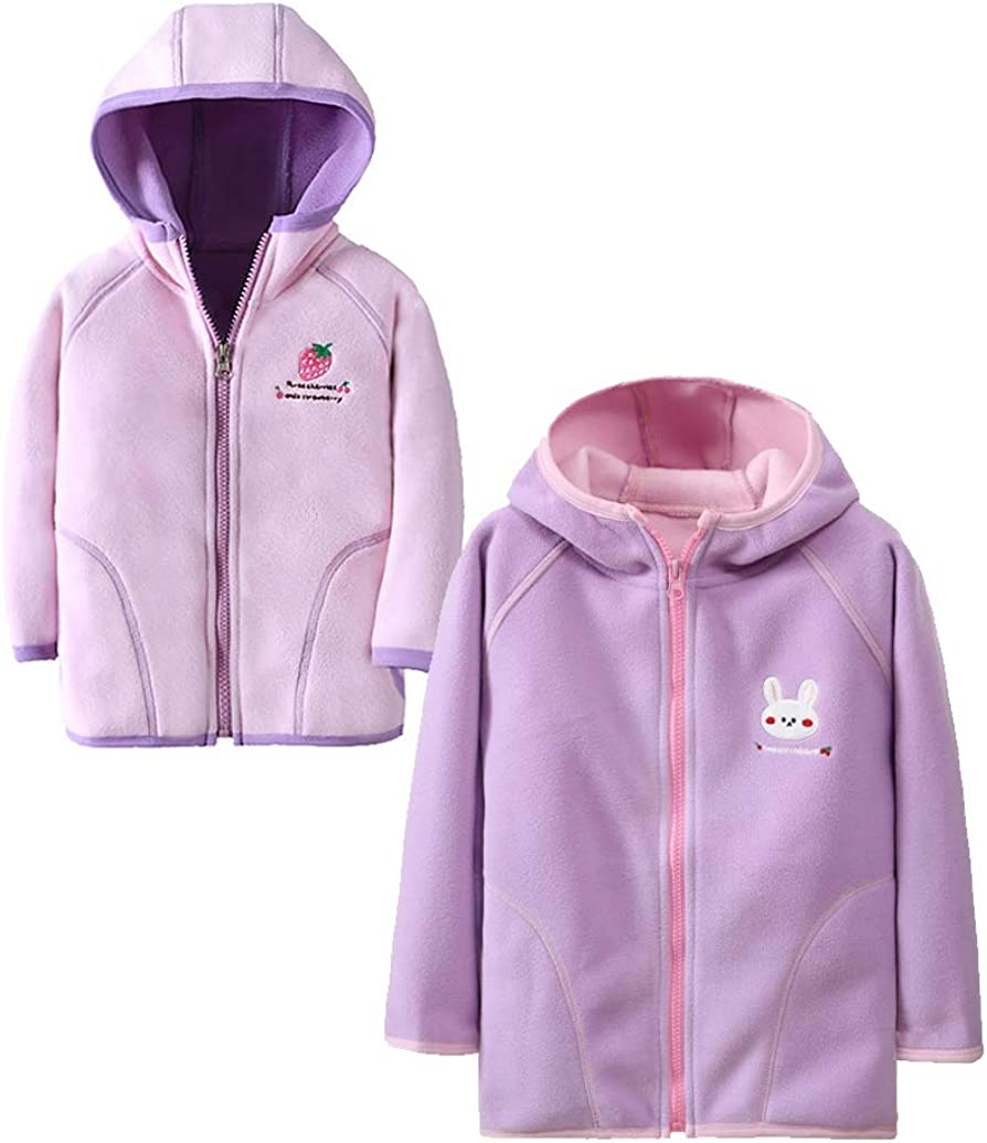 Abalacoco Boys Girls Winter Soft and Cozy Fleece Warm Jackets 2-Pack Coat Outerwear (Style#A, 1-2T)