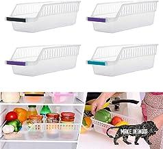 GEZRIL Plastic Fridge Space Saver Food Storage Organizer Basket Rack for Home and Kitchen (Transparent, Pack of 4)