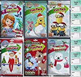 Christmas Winter Play Pack Grab and Go Sofia the First, Winnie Pooh, Minions, Elf on the Shelf, Rudolph Red Nosed Reindeer (6 Different Packs Guaranteed) and 6 'Thank You' Cards, Great for XMas Party Favors and Stocking Stuffer