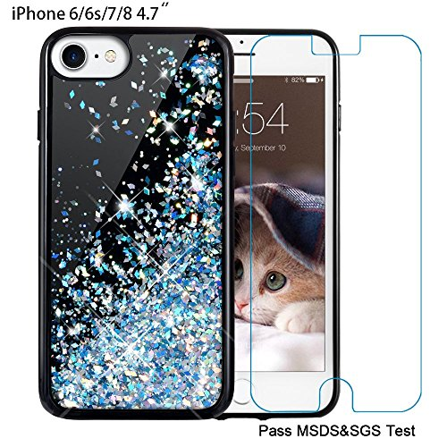 Maxdara iPhone 6/6s/7/8 Case,[4.7 inch Screen Protector] Black Glitter Liquid Sparkle Protective Bumper Case Floating Bling Pretty Quicksand for Girls Children [Pass MSDS&SGS Safety Test] (Blue)