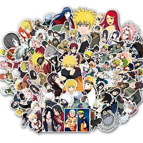 Naruto Pegatinas de dibujos animados para maleta, cuaderno de personalidad, maleta con ruedas, funda impermeable, 103 unidades