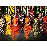 DIY 5D Full Drill Grains Spices Spoon Peppers Kitchen Square Diamond Painting by Number Kits for Adults & Children Crystal Cross Stitch for Home Kitchen Wall Decoration Gift 40x30CM/16x12IN