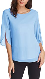 GRACE KARIN Women's Casual Chiffon Blouse Tops Half Ruffle Sleeve