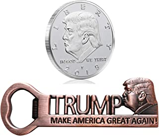 MAGA Make America Great Again Magnetic Bottle Opener Fridge Magnets and Donald Trump Collectible Coin 2019, Birthday Christmas Gifts For Trump Fans Supporters Republicans