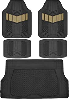 Motor Trend MT-688-BG-MT-884 Beige DualFlex Heavy Duty Rubber Auto Car Floor Mats w/Cargo Trunk Liner Cover Padding