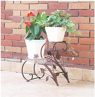 Flower stand Flower Stand, Wrought Iron Metal Stand Plant Flower Pot Stable Plant Stand Solid Balcony Garden 2 Storey Shel...