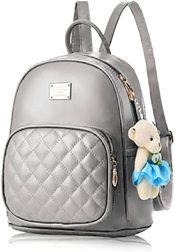PU Leather Teddy Keychain Korean Style Women Backpack