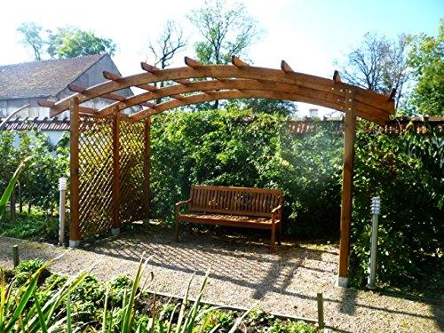 G&C Sophie – Pergola aus Holz mit gewölbtem Dach und Seitengittern