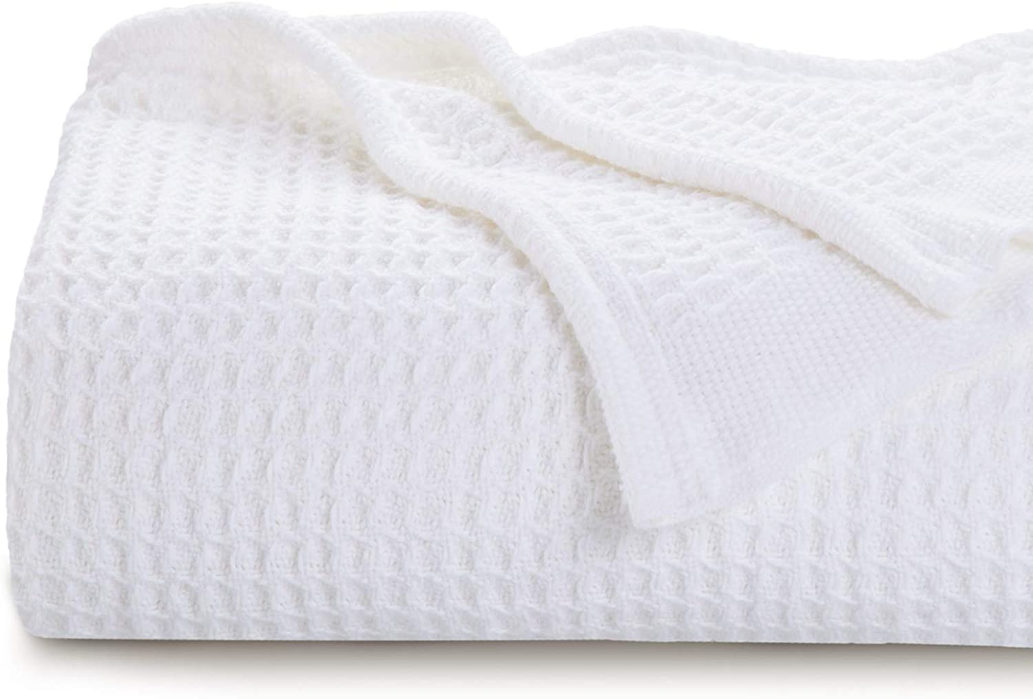 Bedsure 100% Cotton Thermal Blanket - 405GSM Soft Blanket in Waffle Weave for Home Decoration - Perfect for Layering Any Bed for All-Season - King Size (104  x 90 ), White