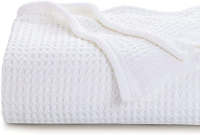 """Bedsure 100% Cotton Thermal Blanket - 405GSM Soft Blanket in Waffle Weave for Home Decoration - Perfect for Layering Any Bed for All-Season - Queen Size (90"""" x 90""""), White"""