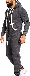 Men's Hooded Onesie Jumpsuit Sports Romper Overall Zip up Playsuit Drawstring Sportswear Adult Overall Hoodie