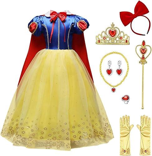 IWEMEK Princesse Costume de Blanche Neige avec Cape Filles Conte de Fée Robe de Carnaval Déguisements Snow White Cosp...