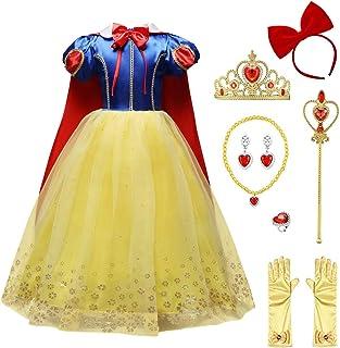 FYMNSI Disfraz de Blancanieves para Niña, Chica Vestido Largo Maxi con Capa Carnaval Halloween Navidad Cumpleaños Vestido de Fiesta Princesa Cuento de Hadas Traje de Cosplay Pageant Comunión 3-8 Años
