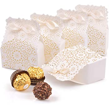 Johouse Party Favor Box, 50PCS Mini White Paper Laser Cut Gift Candy Box Wedding European Hollow Candy Box for Wedding Bridal Shower Baby Birthday Party