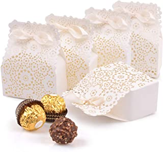 Johouse Candy Boxes, 50PCS White Wedding Party Favor Boxes European Hollow Candy Box for Wedding Bridal Shower Baby Birthday Party