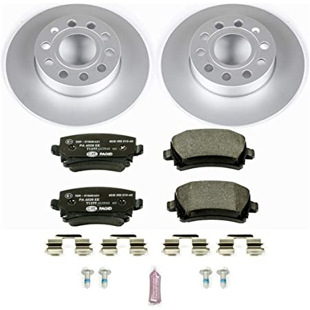 Power Stop ESK7978 Euro-Stop Front and Rear Brake Kit Coated Brake Rotors /& Ceramic Brake Pads