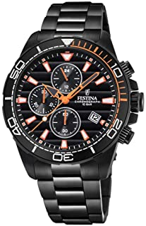 Men's Watch Festina - F20365/1 - CHRONOGRAPH - Date - AM/PM - Black and Orange - Stainless Steel