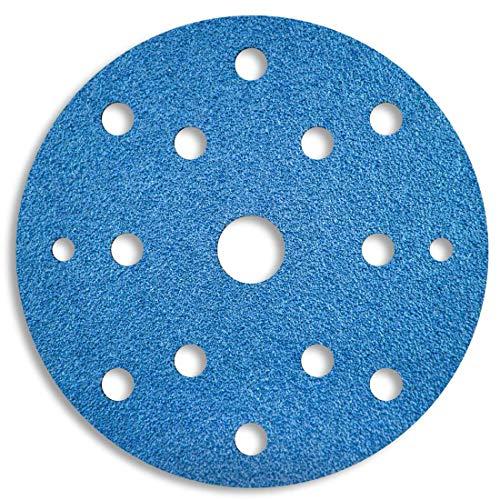 MENZER Blue Discos Abrasivos con Velcro, 150 mm, 15 Agujeros, Grano 36, para Lijadoras Roto Orbitales, Circonio corindón (25 Piezas)
